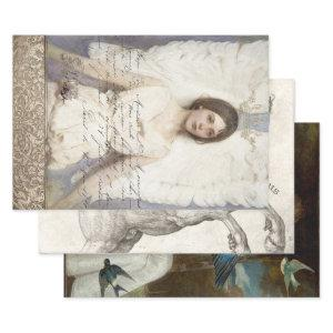WINGED BEAUTIES HEAVY WEIGHT DECOUPAGE WRAPPING PAPER SHEETS