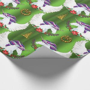 Winged Unicorn Green Christmas Wrapping Paper