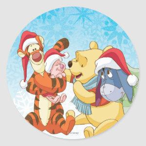 Winnie The Pooh & Friends Holiday Classic Round Sticker