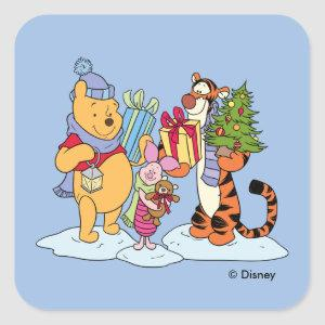 Winnie the Pooh   Happy Holidays Gift Giving Square Sticker