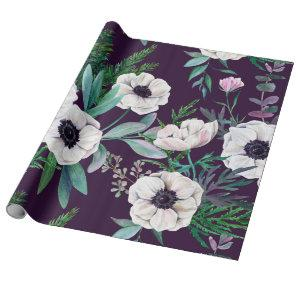 Winter anemones wrapping paper