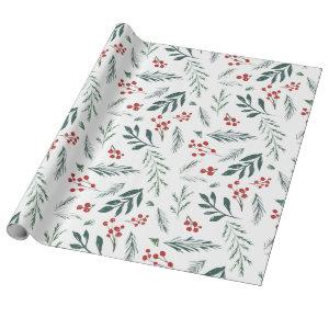 Winter Botanicals Elegant Holiday Wrapping Paper