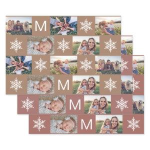 Winter Bronze Snowflakes Monogram Photo Collage Wrapping Paper Sheets