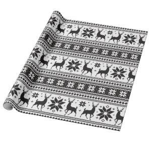 Winter Christmas Deer Black Snowflake Pattern Wrapping Paper