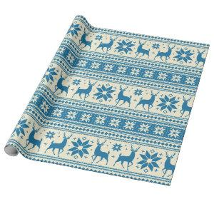 Winter Christmas Deer Blue Snowflake Pattern Wrapping Paper
