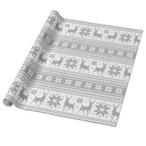 Winter Christmas Deer Gray Snowflake Pattern Wrapping Paper