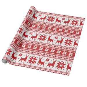 Winter Christmas Deer Red Snowflake Pattern Wrapping Paper