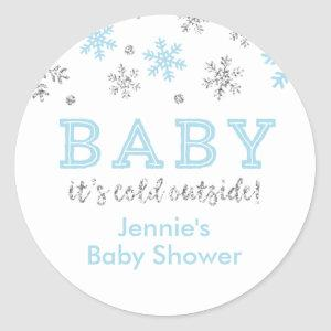 Winter Glitter Snowflake Shower Favor Tag, Blue Classic Round Sticker