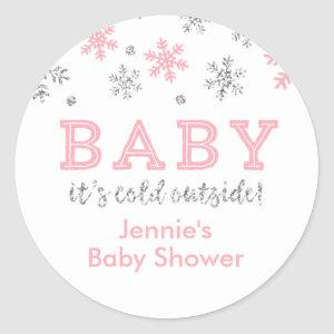 Winter Glitter Snowflake Shower Favor Tag, Pink Classic Round Sticker