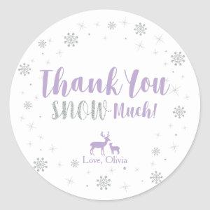 Winter, Silver & Purple Thank you snow much Classic Round Sticker