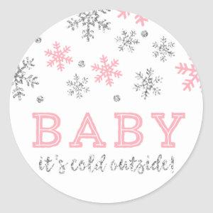 Winter Snowflake, Baby It's Cold Outside, Pink Classic Round Sticker