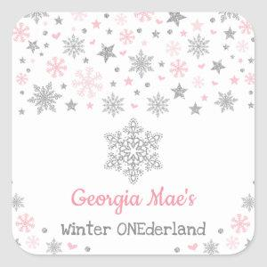 Winter Snowflake Pink Silver Birthday Party Favors Square Sticker