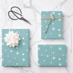 Winter Snowflakes and Polka Dots Pattern in Teal Wrapping Paper Sheets
