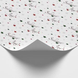 Winter Solstice Joy Red and Green Stars Wrapping Paper