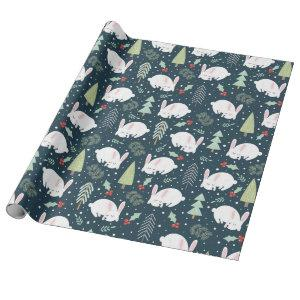 Winter White Snow Bunny Wrapping Paper