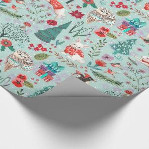 Winter Woodland Blue & red Animals forest pattern Wrapping Paper