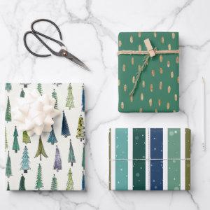 Wintery Green Christmas Tree Holiday Wrapping Paper Sheets