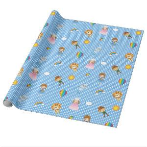 Wizard of Oz Characters on Blue and White Gingham Wrapping Paper