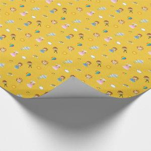 Wizard of Oz Characters on yellow brick road Wrapping Paper