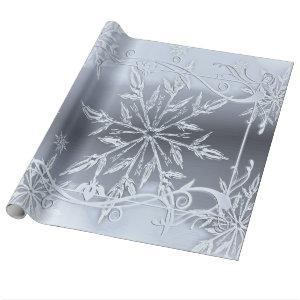 Wonderful Christmas, Silver, Glass Snowflakes Wrapping Paper