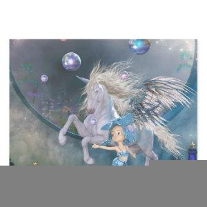 Wonderful white unicorn with little fairy wrapping paper sheets