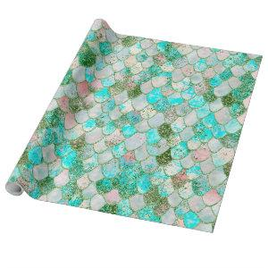 Wonky Watercolor Mint Green Glitter Mermaid Scales Wrapping Paper