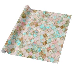 Wonky Watercolor Pastel Glitter Mermaid Scales Wrapping Paper