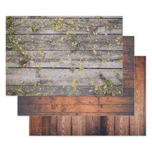 Wood Grain Rustic Old Country Boards Wrapping Paper Sheets