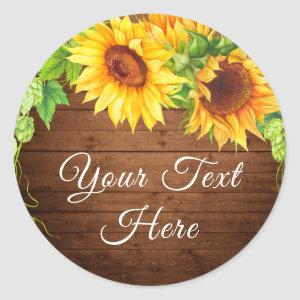 Wood Sunflowers Blossom Rustic Thank You Classic Round Sticker