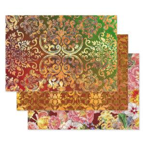 Woodbury Damask and Flower Festival Wrapping Paper Sheets
