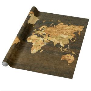 Wooden World Map Wrapping Paper