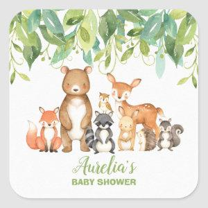 Woodland Animal Baby Shower Forest Thank You Favor Square Sticker
