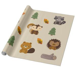 Woodland Animal Forest Beaver Wapping Paper