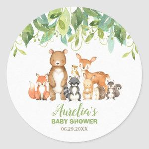 Woodland Animals Baby Shower Forest Neutral Favor Classic Round Sticker