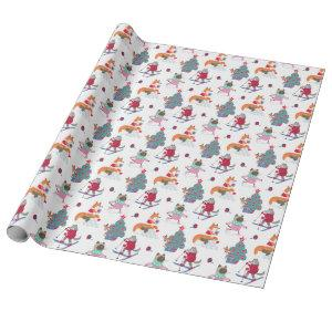 Woodland Animals Fox Wolf Deer in Christmas Antics Wrapping Paper