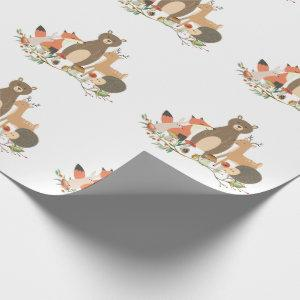 Woodland animals pattern wrapping paper