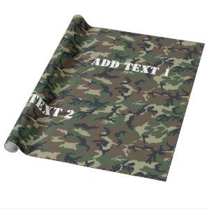 Woodland Camouflage Military Background Wrapping Paper