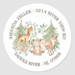 Woodland Forest Baby Shower Return Address Label