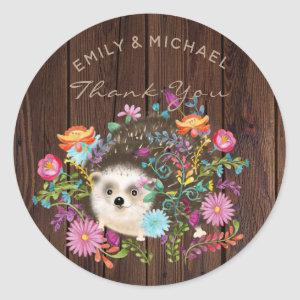 Woodland Hedgehog Stickers for Favors, Rustic