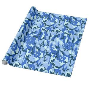 Woodland Sky Blue Camouflage Wrapping Paper
