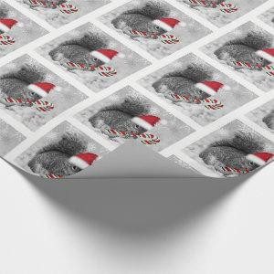 Woodland Squirrel in Red Santa Hat with Candycane Wrapping Paper