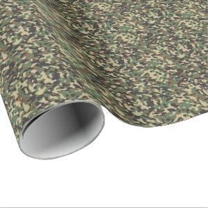 Woodland Tan Green Black Military Camo Camouflage Wrapping Paper