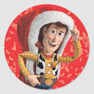 Woody in Santa Hat Classic Round Sticker