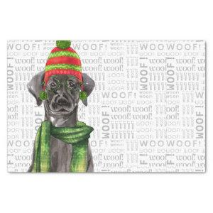 Woof Word Art and Christmas Black Labrador Tissue Paper