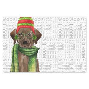 Woof Word Art and Christmas Chocolate Lab Tissue Paper