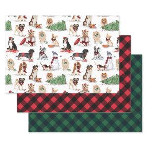 Woofy Christmas Cute Watercolor Naughty Dogs Wrapping Paper Sheets