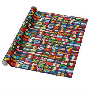 World Flags Wrapping Paper (Black)