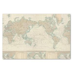 World Map of the Shipping Canals Tissue Paper