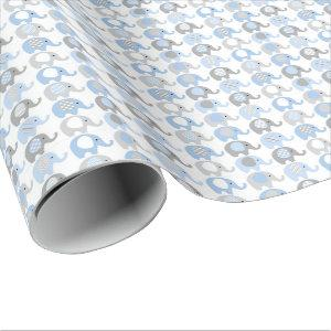 Wrapping Paper - Blue & Gray Elephants