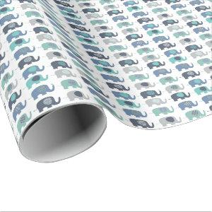 Wrapping Paper - Blue, Green & Grey Elephants